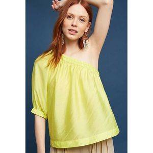 Maeve Leonie Canary Neon One Shoulder Top